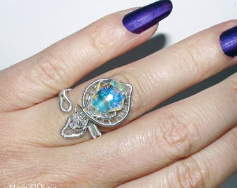 Moon Elf wire ring, elven ring with Swarovski crystal, elvish jewelry, adjustable ring for Elven Wedding, wedding jewelry, statement ring