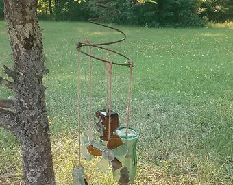 Original Antique Glass Wind Chime Upcycled Art