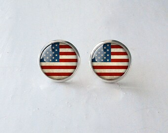 US flag post earrings, US flag stud earrings, US flag earrings, American flag earrings