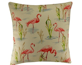 Flamingo Cushion, Tropical Bird Pillow 16x16, Flamingo Decor, Cream and Pink Cushion Cover, Pink Flamingo Pillow - Free Shipping UK