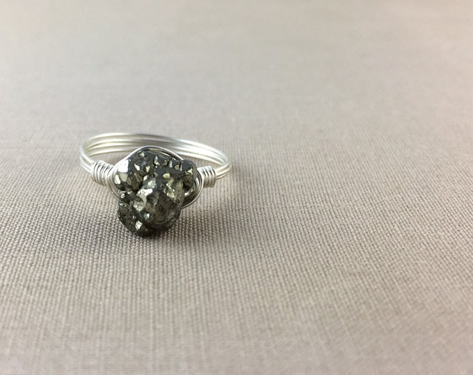 Raw Pyrite Ring // wire wrapped pyrite ring, raw crystal ring, raw gemstone ring, jewelry under 25, sterling silver ring, boho ring