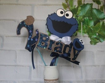 Cookie Monster centerpiece, Cookie monster personalized centerpiece, Cookie monster sticks,