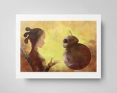 Rey and BB-8 Watercolor Art Silhouette Poster Star Wars The Force Awakens Print - Star Wars Poster  Watercolor Painting - Geek Gifts