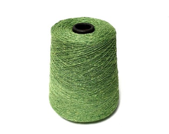 Lime Green Eco Recycled  Cotton Yarn Cone   1 Lb Lace weight.  KNITTING - WEAVING - Crochet -YARN on Cone