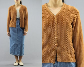 Basic Cable Knit Button Up Cardigan Sweater By Daisy Women's 90's Vintage