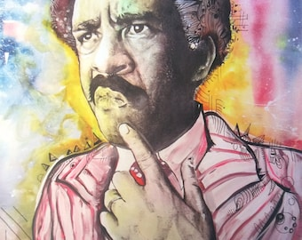 """Richard Pryor, surreal realistic print charcoal realistic drawing painting colorful 11x14"""""""