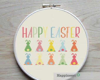 modern cross stitch pattern easter, Happy easter, bunny's, PDF  ** instant download**