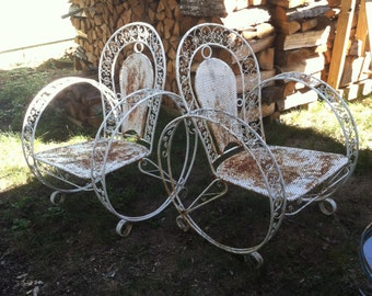 French Garden Chairs Vintage Art Deco Metal White Paint Rust Mesh Mid  Century Farmhouse Furniture Patio