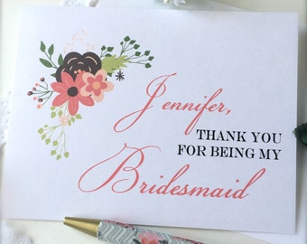 Bridesmaid thank you card, maid of honor card, flower girl thank you card, bridal party thank you card, personalized wedding thank you (ty5)