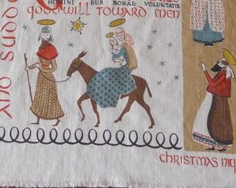 "Robert Darr Wert ""Christmas Night"" Towel,  Mid Century"
