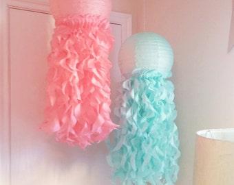 Under The Sea Party Decorations-Mermaid party-Jellyfish Paper Lanterns-Nursery Decor-Aqua &Coral-Room Decoration-Set of 2
