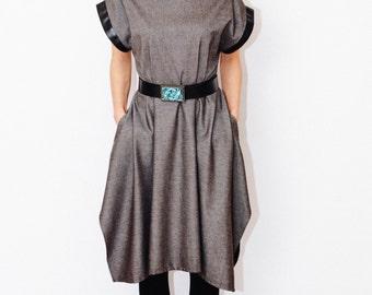 petar pan collar winter dress/ asymmetrical dress/ Casual dress / Unique Dress / Oversized Dress/ maternity dress/ wool dress/ leather dress