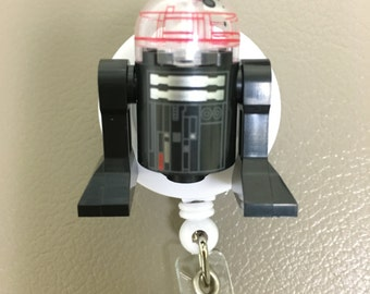 Imperial Astromech Droid R2D2™ Star Wars©  ~ ID Holder Customized with Brick® Minifigure ~ Badge Reel ~ Belt Clip ~ Alligator Clip ~ Nurse