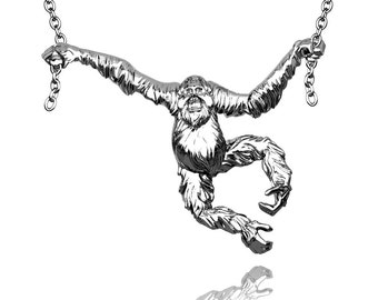 Orangutan Pendant in Hallmarked solid Sterling Silver and chain. Luxury Gift with authentic detail.