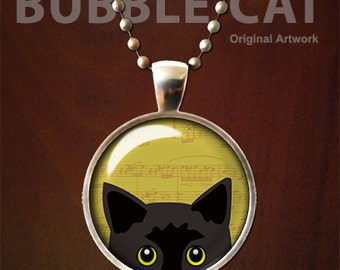 Black Cat Necklace, Peeking Cat Pendant with Chain