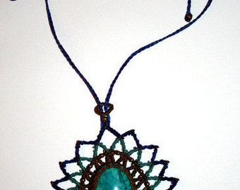 Woven necklace, waxed thread and Chrysocolla