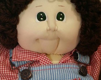 """Vintage 1984 Soft Sculpture Cabbage Patch Boy in Overalls """"Owen Elmer"""" with Tag and Original Papers"""