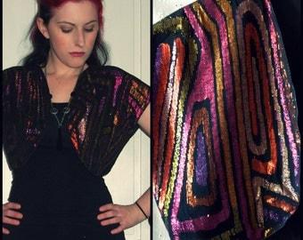 Vintage Metallic Bolero Jacket, Sparkly Shrug Top, Black, Pink, Purple, Small