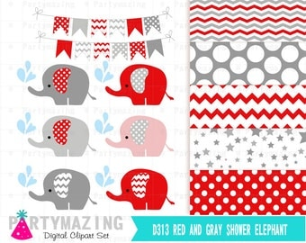 Red Elephant ClipArt , Red and Gray Clip Art set , Elephant Graphic, Baby Shower. Chevron and Polka dot Elephant clipart set D313