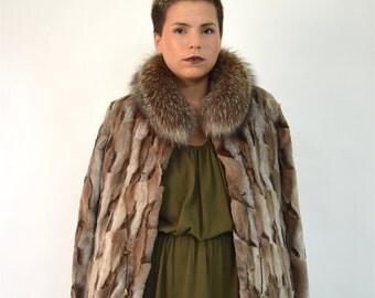 Real sheared fur coat,new fox fur coat, sheared fox coat fox collar, frost fox fur jacket, coat. Genuine quality pelt, brown fox fur trim.