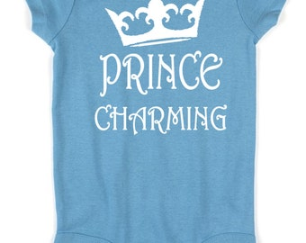 Prince Charming Disney Baby Creeper Body Suit with 3 Snap Closure / First Disney Vacation / Baby Disney / Baby Disney Gift