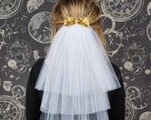 Bachelorette Party Veil, Hen Party Veil, Bridal Shower Veil - White Tulle Veil with Bow in Your Choice of Colors