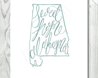 Alabama Phrase Watercolor Print  /  8 x 10 INSTANT DOWNLOAD | Alabama Print | Hand Lettered Print | State Illustration