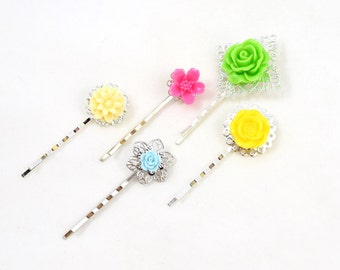 Silver Flower Bobby Pin Set