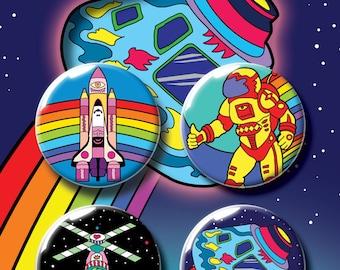 Space Badge Pack #2. Pin Badge. Pin Badges. Badge. Badges. Button Badge. Button Badges. Pins. Pin. Pinback Button. Kids Gift. Childrens Gift