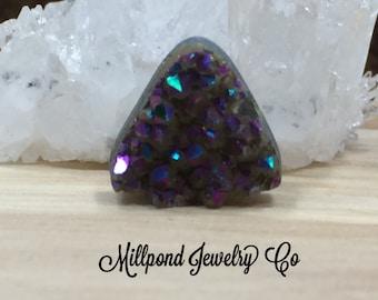 Triangle Druzy Beads, Druzy Beads, Druzy, Drusy, Coated Druzy Beads, Rainbow Pink Colored Druzy Beads, 15mm, 2 Pieces