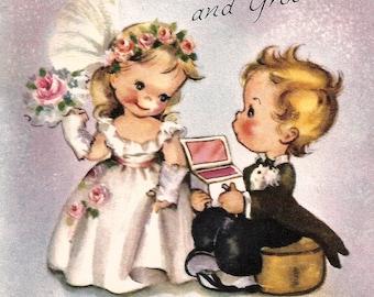 Vintage greeting wedding card cute children bride and groom digital download printable instant image