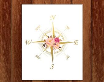 Compass print, Compass printable, Printable nursery art, Instant Download
