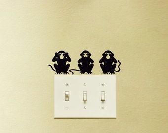 3 Monkeys Velvet Stickers - Three Wise Monkeys Wall Decal - See No Evil, Hear No Evil, Speak No Evil Laptop Stickers - Window Decals