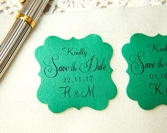 Forest Green Printed Save The Date seals. Custom printed Wedding stickers. personalised Pearlised Envelope seals. Wedding favours