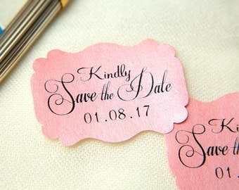 Blush Pink Printed Save The Date seals. Custom printed Wedding stickers. Personalised Pearlised Envelope seals. Wedding favours