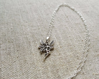 Tibetan Silver Fairy Pendant Necklace on Sterling Silver Chain