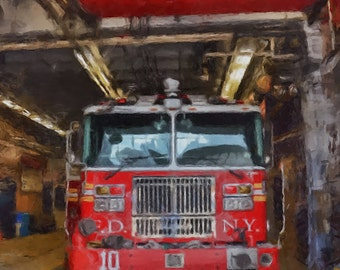 Print Firefighter Painting Fire house fire truck decor wall fireman illustration acrylic painting new york city fire digital poster canvas