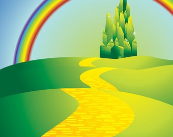 3x4 Scenic Photo Backdrop of Emerald Castle of the Oz Lands Rainbow Arc - FabVinyl 3x4ft (FV5107)