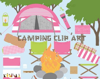 Camping Clip Art Folding Chair Wooden Sign Tree Tent Cooler Sleeping Bag Flashlight Campfire S'mores Camping Party Clip Art