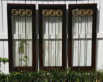 1910s Architectural Salvage Trio of Gorgeous Revival or Victorian Style Large Wood Doors or Windows with Leaded Glass