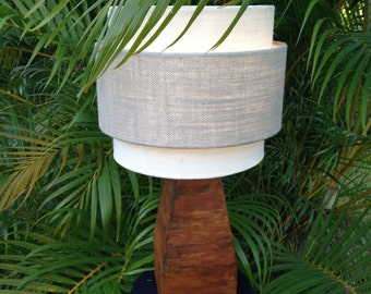 Retro-rustic solid core laminated wood table lamp base in authentic iron rust finish. Free shipping to lower 48 states.