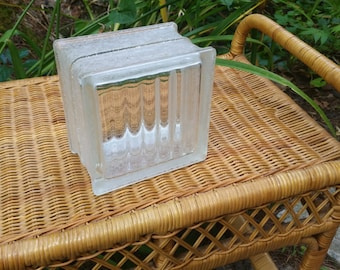 Vintage Solid GLASS BLOCKS Unused Mid Century Modern Architectural optic ribbed glass block