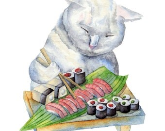 Watercolor Print Cat Eating Sushi Full Page No Text 8.5 x 11