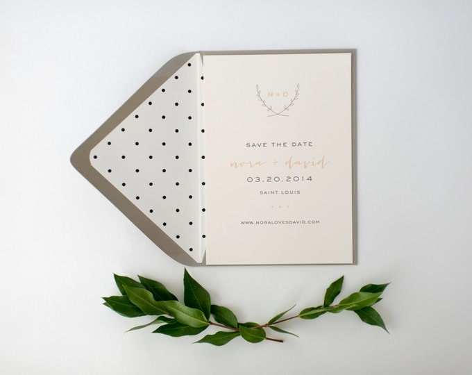 nora save the date invitation  -  customizable (sets of 10)  //  lola louie paperie