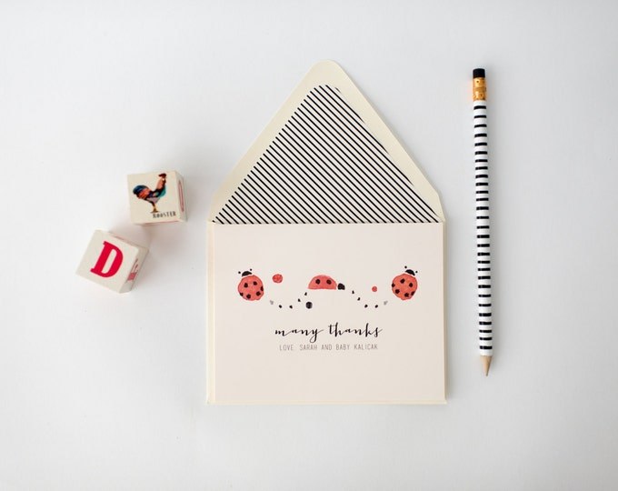 lady bug personalized baby shower thank you cards +  lined envelopes (sets of 10)  // lola louie paperie