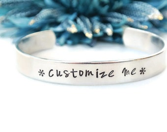 Custom Hand Stamped Cuff Bracelet | Personalized Bracelet | Personalized Cuff | Aluminum Bracelet | Girlfriend Gift | Gifts For Her