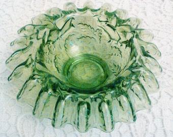 Green ribbon glass bowl green shabby chic glass vintage bowl vintage ribbon bowl