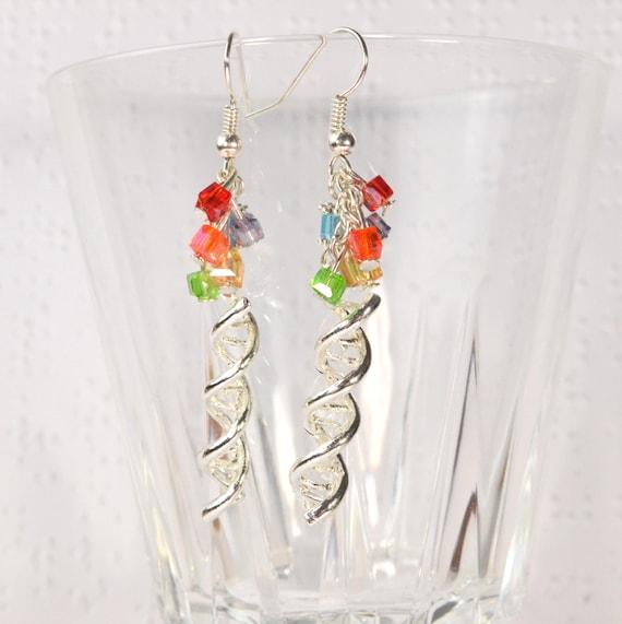 dna earrings helix earrings genetics earrings