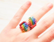 Rainbow Ring, Gay pride Ring, Rainbow Wedding, LGBT Pride jewelry, Lesbian wedding gift, Gay rights, Lesbian couple, Rainbow party gift, UK