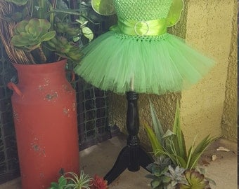 Toddler Tinkerbell Inspired Costume//Girls Fairy Dress//Toddler Halloween Costume// Tinkerbell Inspired Tutu Dress